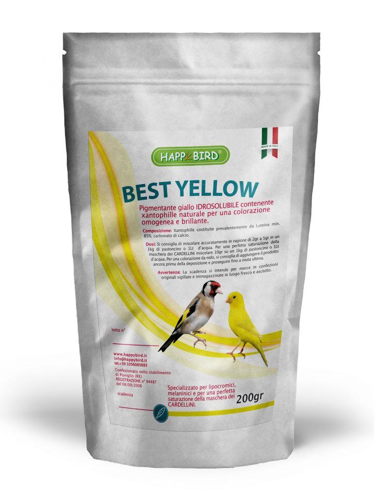 <p>COMPOSIZIONE: Xantophille costituite prevalentemente da</p><p>Luteina min. 85%, carbonato di calcio.<br>CARATTERISTICHE: Best Yellow è un pigmentante giallo <br>contenente xantophille naturali ottenute dalla lavorazione<br>del Tagetes erecta.<br>Serve ad ottenere una colorazione omogenea e brillante in <br>tutti gli uccelli sia lipocromici che melaninici.<br>La funzione principale è quella di saturare il lipocromo rendendolo più intenso. Per una colorazione da nido, si consiglia di aggiungere Best Yellow ancora prima della deposizione e proseguire fino a muta ultimata.<br>CONSIGLIATO anche per una perfetta saturazione della <br>maschera dei CARDELLINI.<br>DOSI: miscelare accuratamente in ragione da 2 g a 5 g in un kg <br>di pastoncino da muta.<br>Per una perfetta saturazione della maschera dei CARDELLINI<br>miscelare 10 g su un kg di pastoncino.</p>