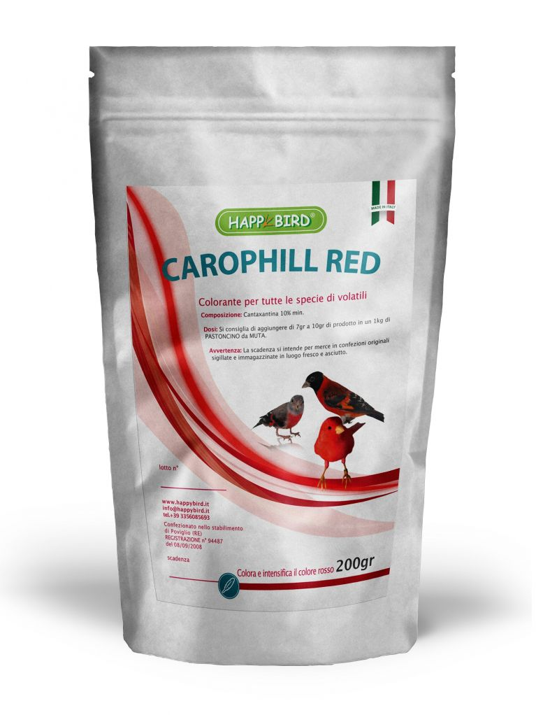 <p>COMPOSIZIONE: Cantaxantina 10% min. colorante per tutte le specie di animali.</p><p>CARATTERISTICHE E MODALITà D'IMPIEGO:<br>Cariphill Red serve a colorare e ad intensificare il colore rosso <br>negli uccelli ornamentali. Si consiglia di aggiungere da 7g a <br>10 g di Carophill Red ad un kg di pastoncino da muta.</p>